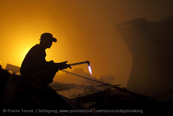 ship breaking at night