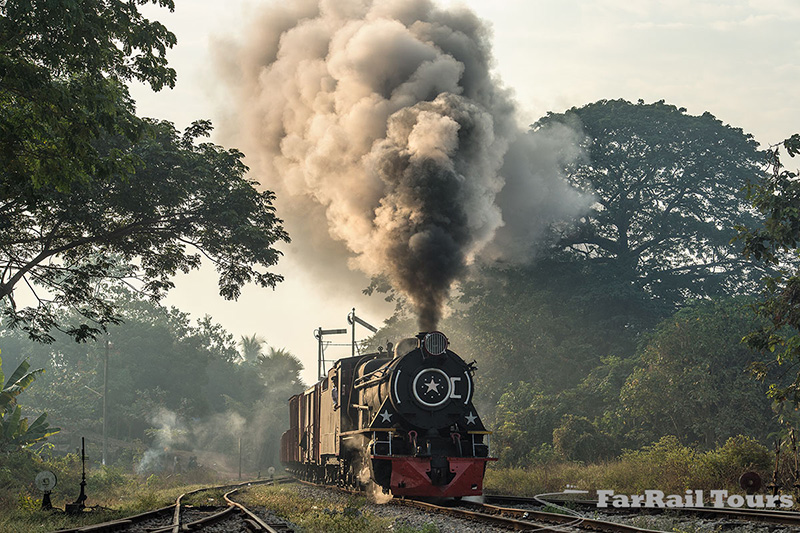 Steam charter trains for railway photographers in Burma/Myanmar