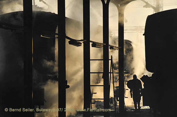 steam shed atmosphere in Bulawayo